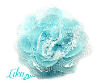 Lace Flower - Aqua White Lace - Chiffon Flower - Lace rose - Shredded Lace Flower - Wholesale - Supply - DIY- 3.75 inch