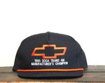 Great Vintage Chevy Chevrolet Trans Am Manufacturers Champion Bowtie Logo Racing Trucker Hat Snapback Baseball Cap