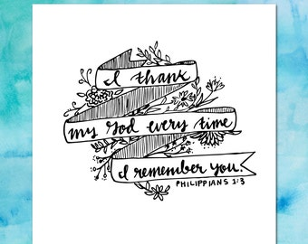 Thank You card + Philippians 1:3 + INSTANT DOWNLOAD