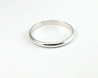 Band Ring Plain Sterling Silver SET OF 2 , 2mm Band Ring, Stackable Ring, Everyday Wear, Stacking Ring, Band Ring, Wedding Band, Simple Ring