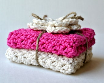Cotton Dish Cloths in Pink and Cream - Set of 2