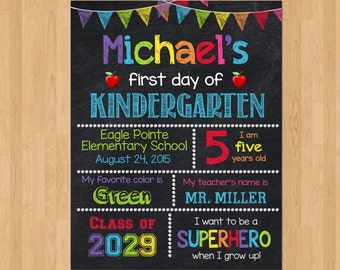 First Day of Kindergarten Sign, First Day of School Chalkboard Sign Printable Photo Prop, Personalized Last Day or Back to School, ANY GRADE