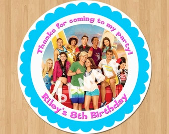 Teen Beach Movie 2 Treat Bag Label, Teen Beach Movie Party Favor Tags, Printable Birthday Party Thank You Sticker Tag Card, 2.5 inch Circle