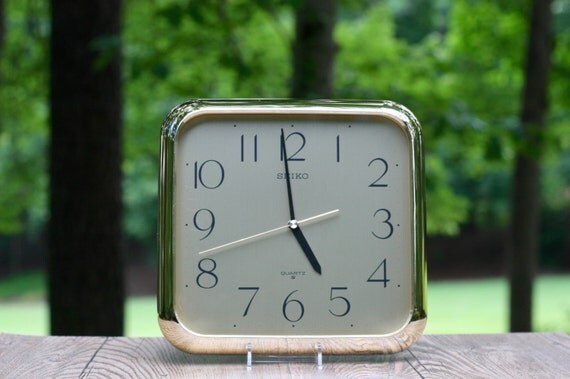 Vintage Seiko Gold Wall Clock Vintage Square Gold Wall Clock