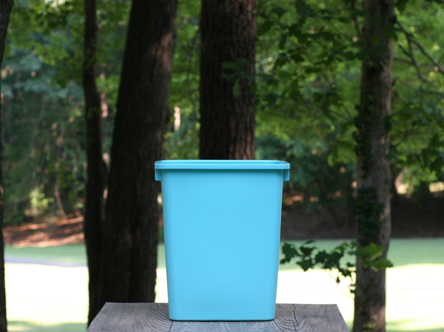 Vintage turquoise rubbermaid trash can turquoise 15 for Turquoise bathroom bin