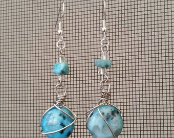 Wire Wrapped Dangle Turquoise Earrings Turquoise/Silver 022E