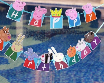 Peppa Pig Banner Bunting Peppa Pig Party Peppa Pig Invitation Flags Decoration Birthday Complete Party Bunting Flags Banner