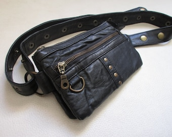 Studded black leather Fanny Pack