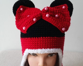 Minnie Mouse crochet hat,  Birthday gift, Christmas gift.