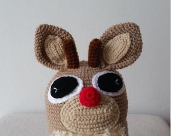 Reindeer Crochet Hat, Birthday gift, Christmas gift.