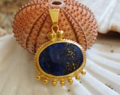 Handmade Ancient Roman Art Large Granulated Lapis Pendant Designed by Ferimer 18k Yellow Gold Vermeil Over Sterling Silver