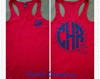 Monogrammed Tank/Anchor Rope Monogrammed Tank Top/Monogrammed Anchor Rope/Anchor/Vacation/Personalized Anchor Tank Top/Nautical Tank/Rope