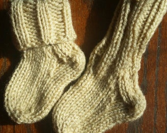 Baby socks/booties (buff), handcrafted knit socks, 3-9 months, custom colors available