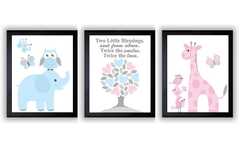 Pink Blue Grey Boy Girl Twins Nursery Art Print Set of 3 Elephant Owl Bird Tree Giraffe Baby Nursery