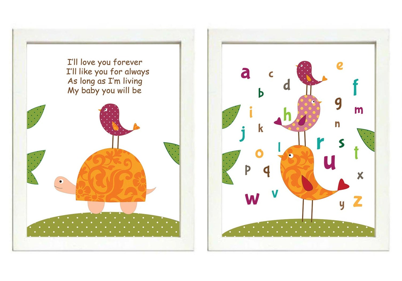 Pink Orange Green Nursery Art Print Set of 2 Bird Turtle ABC Alphabet Baby Child Kid Wall Decor Ill