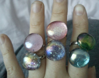 Hand made glass gem rings various colours/designs available