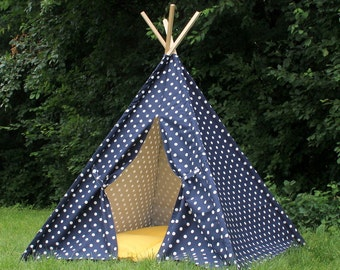 READY TO SHIP Navy Dot Teepee, Play Tent, Playhouse, Tee Pee, Kids Teepee, Tee Pee Tent, Kids Tent, Kids Teepee Tent, Indoor Teepee
