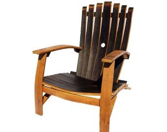 Handcrafted Reclaimed Wine Barrel  7-Stave Adirondack Chair (wine barrel furniture)