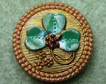 Czech Glass Button 27mm - handpainted clover - gold, green, pink (B27290)