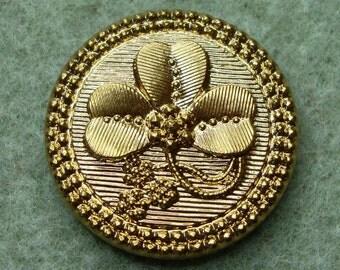 Czech Glass Button 27mm - handpainted clover - gold (B27291)