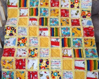 Dr Seuss Rag Quilt - yellow - for baby/ toddler
