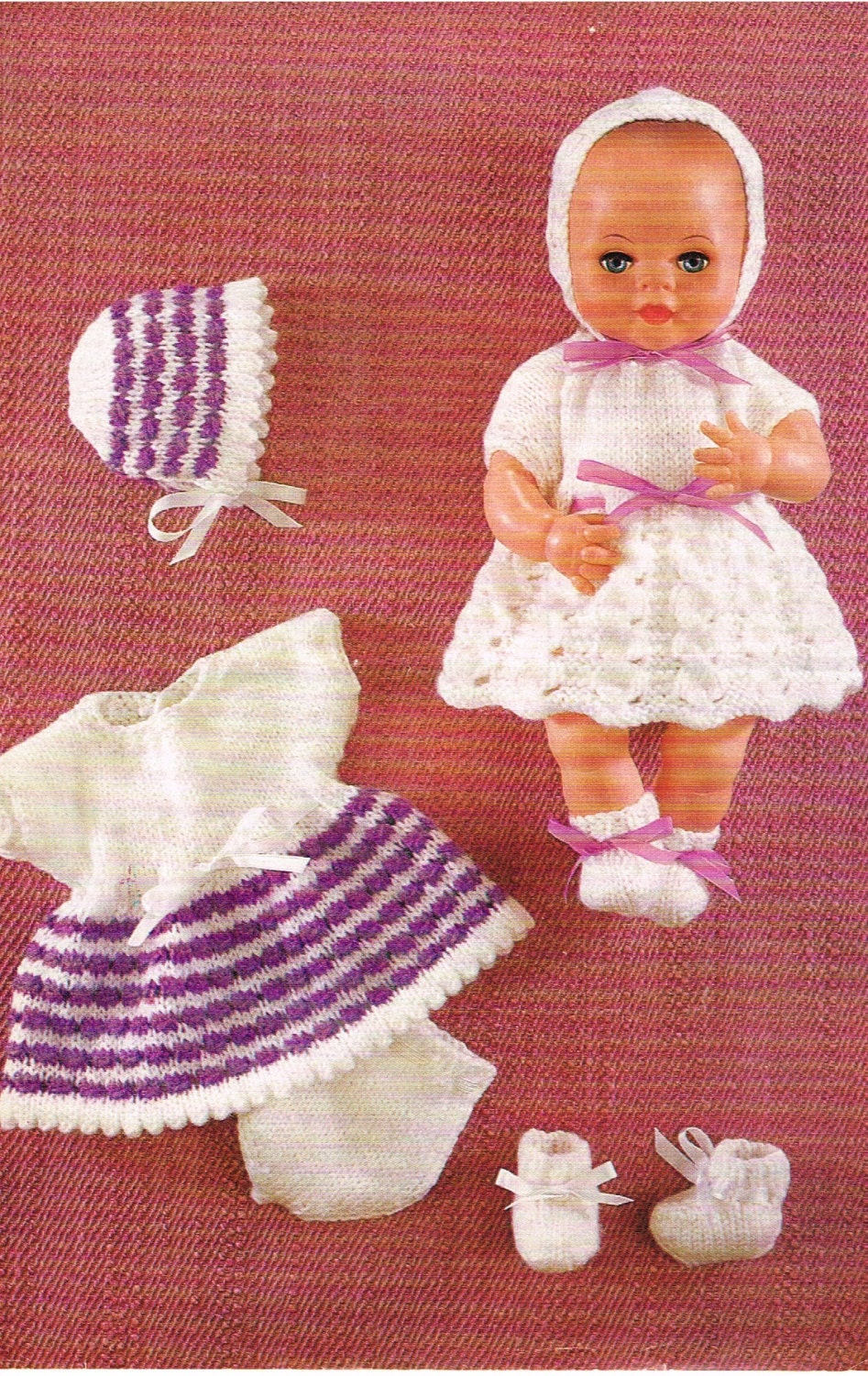 12 Dolls clothes knitting pattern. PDF Instant download