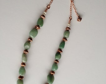 Chunky Green Aventurine and Copper Necklace