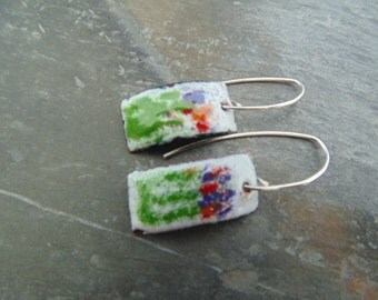 Wildflowers for your ears. Enameled Copper feather weight earrings.