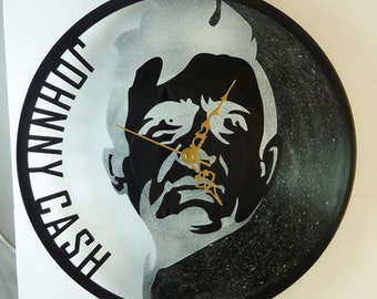 Johnny Cash clock, wall clock, vinyl record clock