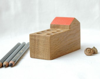 Desk organizer wood , pen holder,wooden pencil holder