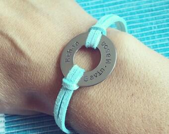 Hand stamped bracelet, CUSTOM Stamped name washer bracelet, mom, grandma, aunt, friend