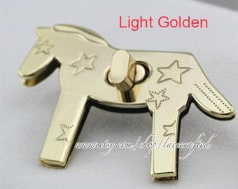 2sets Bag lock Purse Twist Lock Closure Turn Lock Fastener Light Golden metal horse lock for tote handbag book clutch bag shoulder