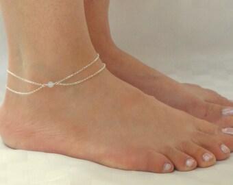 Sterling silver moonstone ankle bracelet, Moonstone anklet, Silver anklet, Sterling silver ankle jewelry, Gemstone ankle bracelet