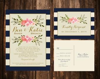 Navy & Coral Stripe and Florals Wedding Invitation Set; Printable