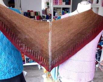 handknitted, triangular scarf, shawl, handknitting, cotton gradient, schokolady, wollium