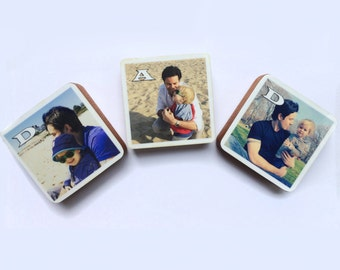 Father's Day Personalized DAD Photo Wood Blocks, Photo Letter Blocks, Gift for dad, Set of 3, Mother's day