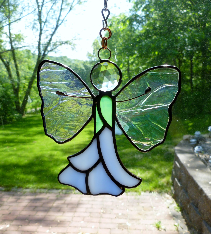 stained glass blue flower garden fairy suncatcher lightcatcher