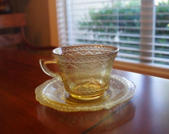 Vintage Amber Federal Glass Patrician Spoke Cup & Saucer 1930s