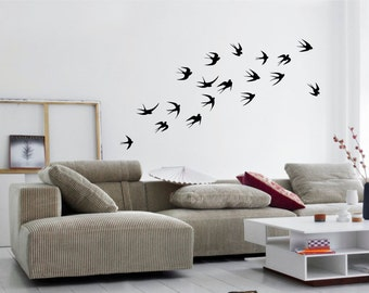 FLYING SWALLOWS Flock of Birds Silhouette set of 18 -  wall art vinyl sticker decals