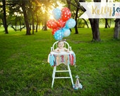 Burlap, Red & Turquoise Fabric Highchair, Cake Smash, Photo Prop, Birthday Party Banner - 1st Birthday Banner - Highchair Banner