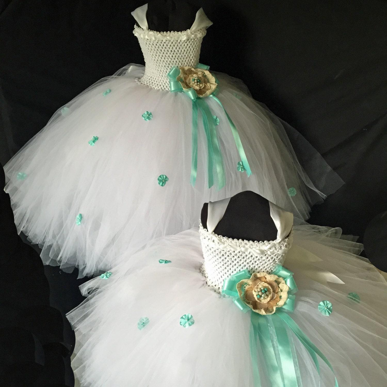 Mint Flower Girl Dress Tutu by RedCarpetTutus on Etsy