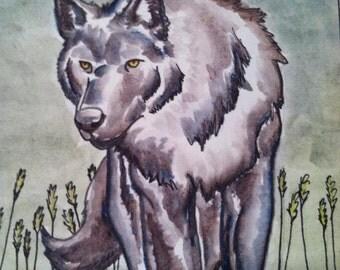 Wolf 6 x 10 Totem Art Watercolor