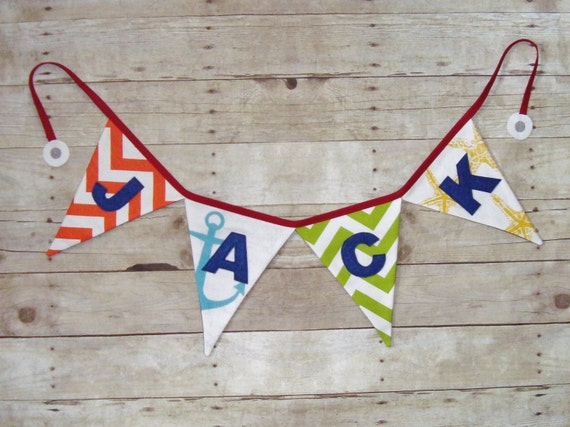 Nautical Banner - Name Sign -birthday party Bunting - anchor and starfish banner - baby shower decor - boys banner - Nautical Party Decor