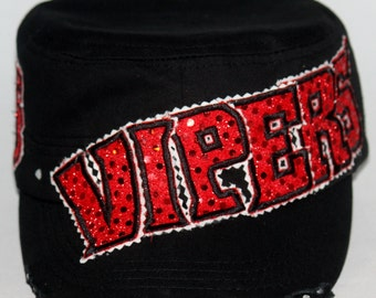 Custom VIPERS hat.  Embroidery applique embellished with dazzling rhinestones. Personalize with any #.  All colors available.