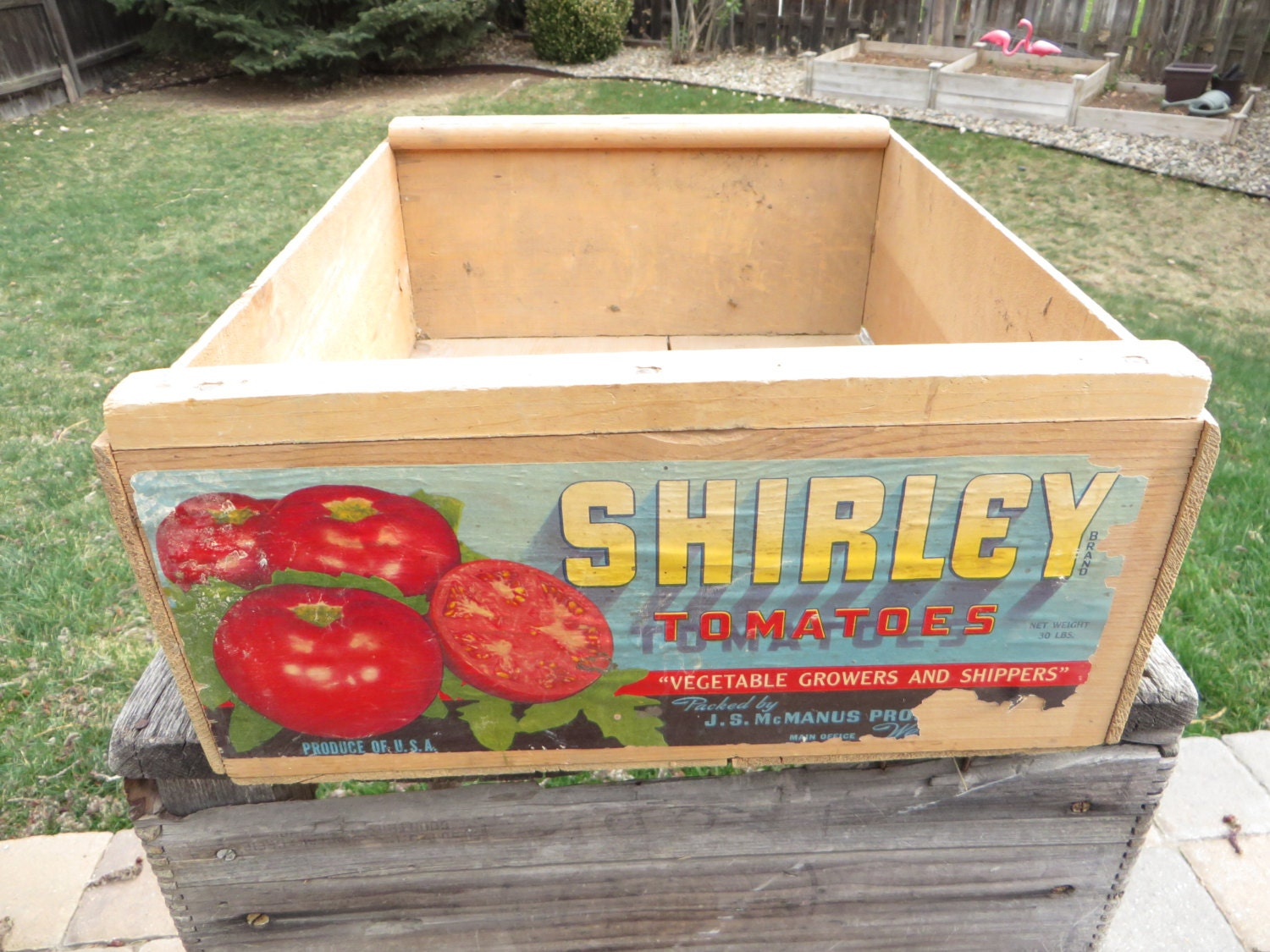 Vintage wood fruit box wooden shirley tomato by