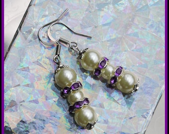 Cream Pearl Drop Earrings with Purple Rhinestones