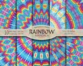 10 Mandalas Arc-en-ciel - 10 rainbow mandalas - kaleidoscope - instant download - telechargement immédiat - papier numérique -digital paper