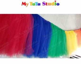Rainbow Tulle Table TuTu Skirt for Wedding, Birthday, Kids Party, Quinceanera, Graduation TSM03008