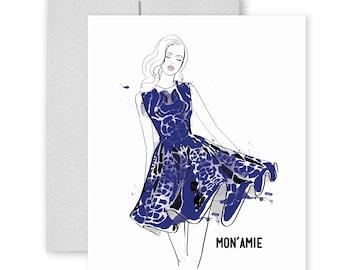 Mon Amie - Greeting Card, Fashion Illustration, Fashion Card, Just Because Card, Friend Card