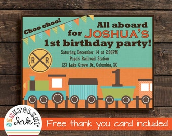 Train First Birthday Invitation - Boys 1st Birthday Party Invite with FREE Thank You Card